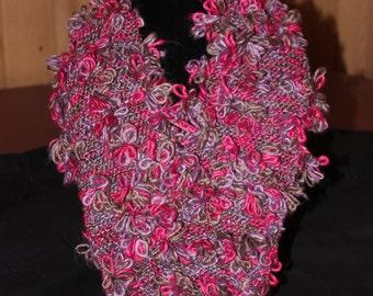 Scarf - Knit Scarf - Hand Knit Fleurette Scarf - Accent Knit Scarf - Winter Scarf - Knitted Scarf - Looped Scarf