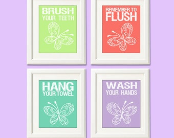 kids bathroom wall art print girl bathroom art brush flush hang
