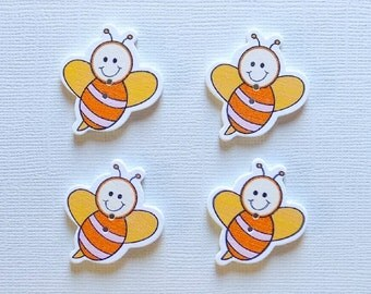 4 Wooden Bee Buttons -  #SB- 00310