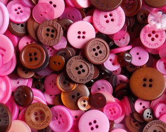 50 Pink and Brown Buttons - Mixed Button Sizes - Sewing Buttons - #DSP-00006