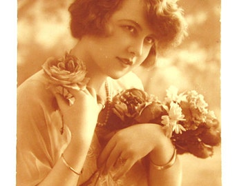 French antique sepia postcard. Woman girl lady portrait. Art deco 1920s.