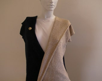 Sleeveless Blue and Beige  Machine hand Knitted Blouse decorated with an elegant  golden button.Elegant Blue Top.