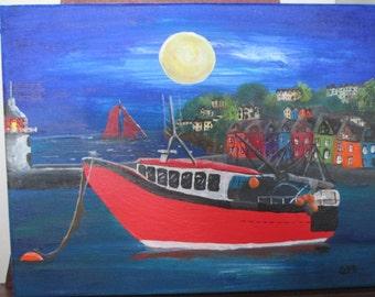 Moored Night - original acrylic on canvas