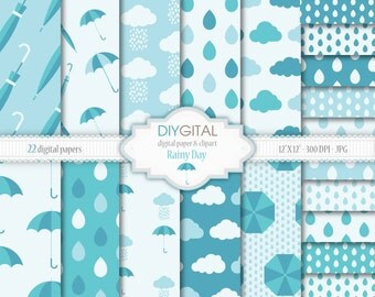 Rainy Day Digital Paper Set - 22 High Quality Printable Digital Papers for scrapbooking, invites, cards - JPG/300 DPI- Instant Download