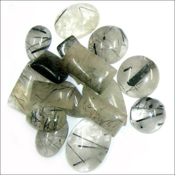 cab black rutile semi precious gemstone mix by