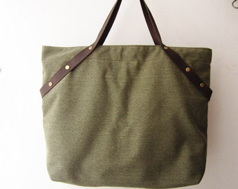 weekender bag ,canvas tote bag leather straps,shopping tote bag, overnight bag ,school bag, gym bag in olive green, military green T003