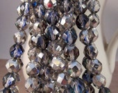 AZURE CHAMPAGNE 8mm Silver Blue Crystal Crystal Firepolish Faceted Round Czech Glass Beads - Clear Blue Silver Multi Color - Qty 25 8-008