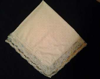 Cream & Gold Sparkle Lap Handkerchief