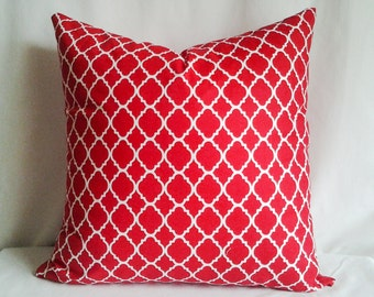 Red and White Pillow Cover, 18x18 Pillow Cover, Decorative Pillow, Toss Pillow, Home Decor, Summer, Spring Decor