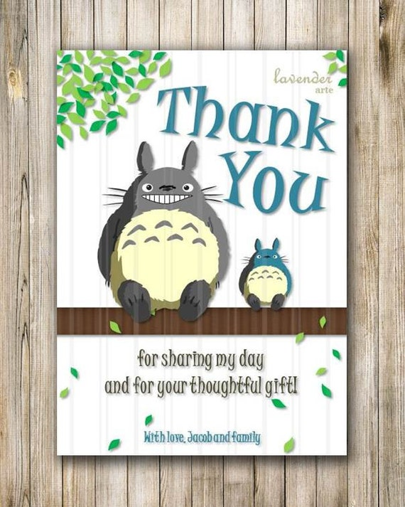 Totoro Thank You Card Totoro Children Birthday Thank You – Totoro Birthday Card