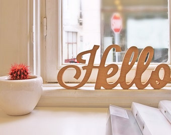 """Wooden sign """"Hello"""""""
