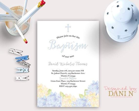 Hydrangea Baptism Invite Blue Boy Christening Floral Catholic