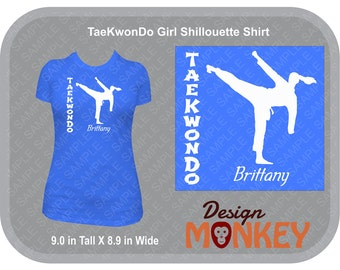 Personalized TaeKwonDo Girl Shiloutte T-Shirt