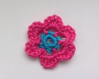 Flower Hair Clip Barrette, Crocheted in Pink and Blue, Hair Accessory for Girls or Women - or Clip It to a Scarf or Poncho!  Made in the USA