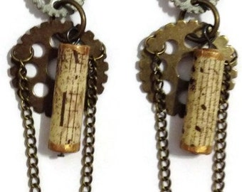 Paper Bead Steampunk Dangle Earrings, Paper Bead Earrings, Steampunk Earrings, Paperbead Jewelry (Antique silver & bronze)