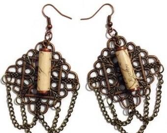 Paper Bead Steampunk Chandelier Earrings, Paper Bead Earrings, Steampunk Earrings, Chandelier Earrings, Paperbead Jewelry, Steampunk Jewelry