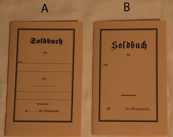 WW1 German Soldbuch Reproduction