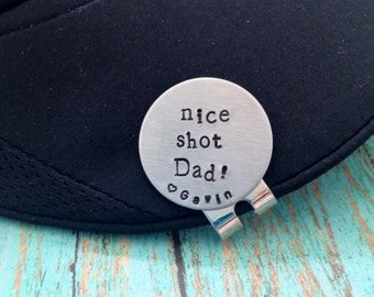 nice shot Dad! Golf Ball Marker and Hat Clip Personalized Magnetic Golf Ball Marker
