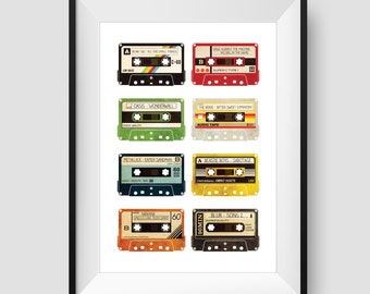Personalised Cassette Print / Poster - Add your favourite songs - Retro Music Art - Wall Art Illustration