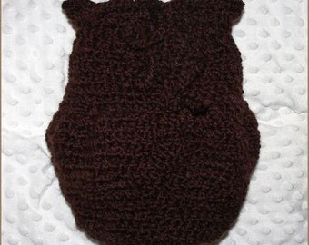 Newborn Baby Crocheted Brown Gumnut Baby Swaddle Sack