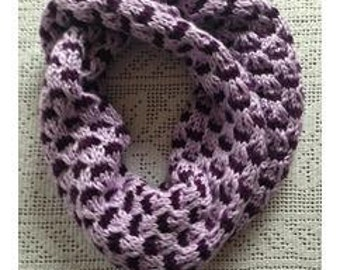 Slip Crosses Infinity Cowl, Light and Dark Purple Scarf, Knitted Women Long Scarf, Neck Warmer, Long Neck Wrap