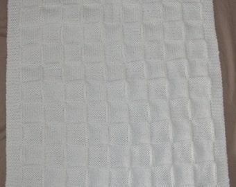 Knitted Baby Blanket, Baby Receiving Blanket, Baby Pram Blanket, Stroller Blanket, Baby Shower Gift, Newborn Present, Hand Knitted Blanket
