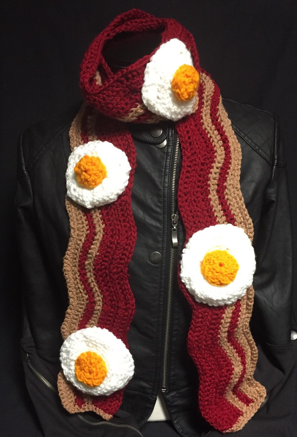 Bacon and Eggs Breakfast Scarf by EclecticYarnWorks on Etsy