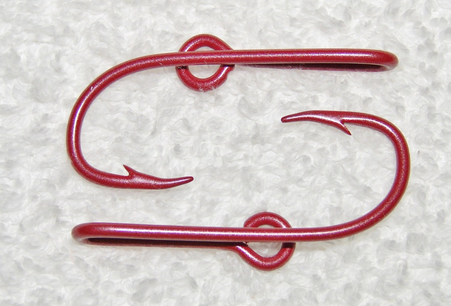 New color 2 peal ruby red colored fish hook hat pins by for Fish hook on hat