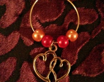"""Handmade lovey dovey wine glass stem charms (""""antique silver"""")"""