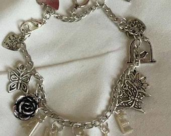 "Handmade Charm Bracelet - Birthday / Name (""antique silver"")"