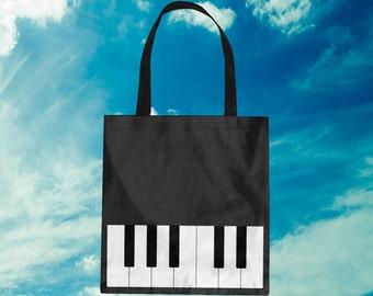 Piano Tote Bag Keyboard Purse Piano Bag Music Bag Music Tote Black Piano Key Music Lesson Bag Musician Gift Shopping Bag Piano Teacher Gift