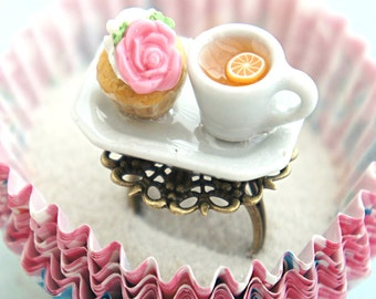 rose cupcake and tea ring- miniature food jewelry, cupcake ring, tea cup ring
