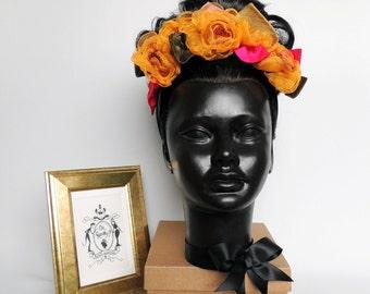 Mustard yellow fabric flower crown – silk and organza