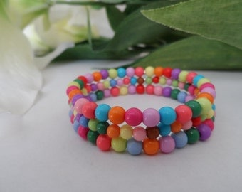 Girls Rainbow Stretchy Bracelet, 3 strand Color Beads, girls Birthday gift, girls bracelets, kids bracelets, rainbow bracelet