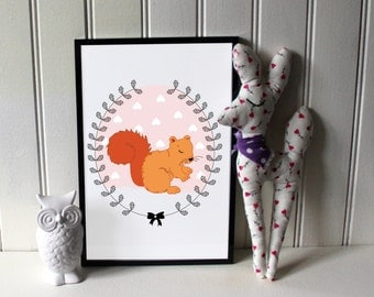 "A4 poster / children Illustration ""Squirrel"""