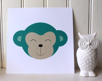 "Illustration monkey Collection: ""big heads"""