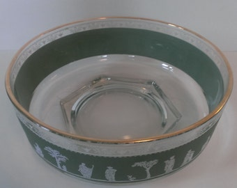 Vintage Jeannette Glass Green Jasperware Hellenic Pattern Round Shallow Bowl