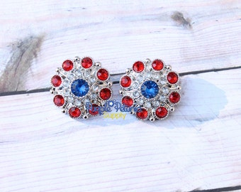2 pc 4th of July button, 4th of July rhinestone, 28mm rhinestone button, patriotic button, red white blue rhinestone