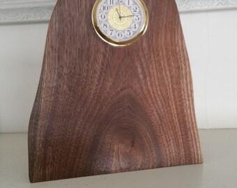 Natural edge walnut clock