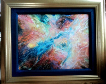 Original Oil Painting by N.R. Nadzo Entitled Cosmos, painting of Deep Space Nebula, Framed in Gold & Blue Linen Liner 11x14""