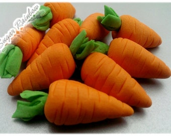 10 Edible sugar carrots vegetables decorations  for cake cupcake toppers