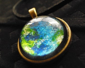 Mother Earth - Hand painted Earth Pendant Necklace, Glass Dome Necklace; Universe Necklace; Bronze necklace