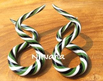 "Custom Multi Color Double Twist Ear Shapes Glass 10g 8g 6g 4g 2g 0g 00g 7/16"" 1/2"" 9/16"" 5/8"" 2.5 mm 3 mm 4 mm 5 mm 6 mm 8 mm 10 mm - 16 mm"