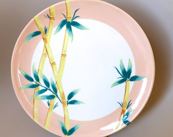 Weil Ware Malay Bambu Dinner Plates Bamboo Pattern California Pottery 1950's Dinnerware