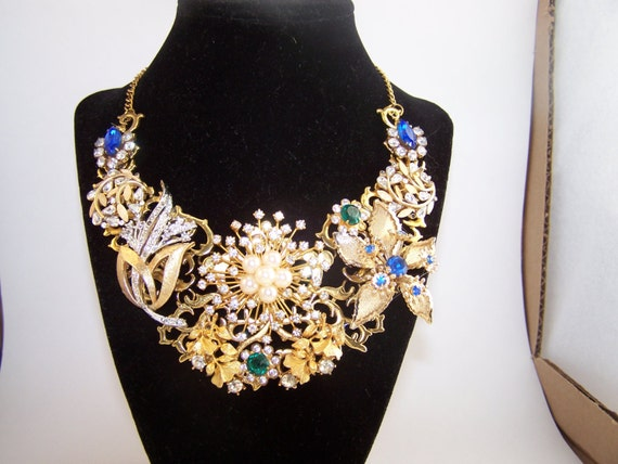 Collage Assemblage Statement Necklace Vintage Costume Jewelry Rhinestone Clear Blue Mixed Metals