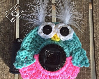 Owl camera lens buddy, crochet camera buddy, owl camera buddy, camera accessories, photography props, photo props.