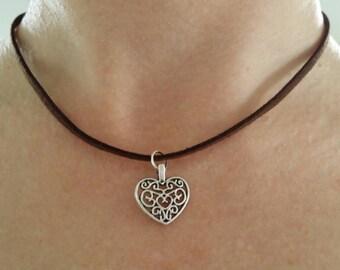 Swirly Heart Choker Necklace