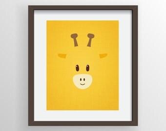 Giraffe Digital Print, Nursery Art, Kids Room, Animal Print, Bright Yellow, Cute, Modern Art Wall Decor