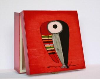Keepsake box, hand painted box, jewelry box, trinket box, wooden keepsake box, personalized box - Rainbow Toucan
