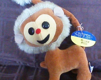 "REDUCED 25% ! Vintage R. Dakin Dream Pets monkey, with original hang tag, Mocha #1255, 1960s, velvet with wood by,product stuffing, tan, 6""."